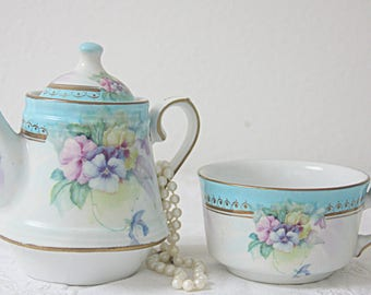 Vintage Meander Porcelain Tea-For-One Teapot and Cup, Aqua Blue Bands and Pansy Decor
