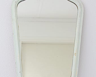 Large Vintage White and Gold Ornate Wooden Frame Hanging Mirror, Home Decor