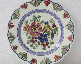 Lovely Vintage Wall Plate, Handpainted Flower and Bird Decor, Makkum Tichelaar, Holland