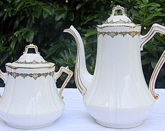 Antique Limoges Coffeepot and Sugar Bowl ,Art Deco Style, France