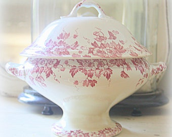 Antique Large French Ironstone Red Floral Tureen with Lid, St Amand et Hamage, France