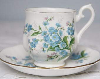 Vintage Royal Albert 'Forget-Me-Not' Lady Size Cup and Saucer, England