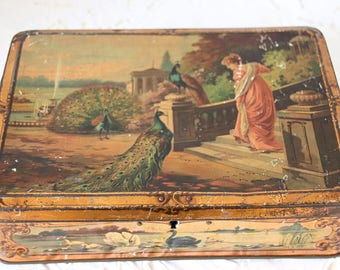 Beautiful Antique Candy Tin with Victorian Age Woman, Peackock and Swan Decor, Breda Holland