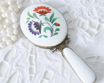 Vintage Small Porcelain Hand Mirror with Hand Painted Flower Decor, Purse Model, Vanity Decoration