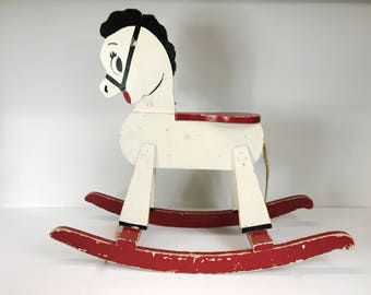 Vintage Wooden Rocking Horse Ride On Painted White Black Red Aged Distressed Vintage Toy Vintage Child's Horse Kid's Room Decor