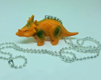 Dinosaur Necklace Silver Ball Chain Orange Triceratops Dinosaur Jewelry Gifts 5 and Under