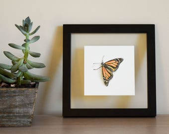 Monarch Butterfly Framed Gouache Painting - Original
