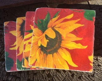 Coaster Set-Sunflower Coaster Set-Travertine tiles-Housewarming gift- Sunflower Coaster set-Farmhouse Decor-Wedding gift- flower coaster set