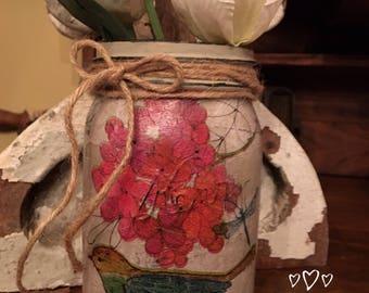 Mason Jar Decor-Decoupaged Mason Jar-Mason Jar-Painted Mason Jar-Hand Painted Mason Jar-Home Decor-Mason Jar Home Decor-Bird Jar- Bird