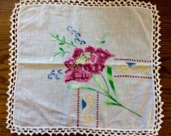 Vintage Floral Cross Stitch & Embroidery Doily