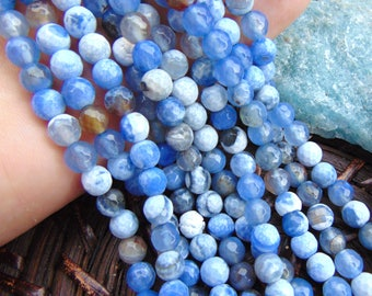 6mm Faceted Cornflower Blue Fire Agate Beads | Round Ball Shaped Beads | Crab Agate | Blue and White Agate Beads | Natural Stone | #R6F-028