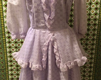 Vintage 1970s 1980s Purple Eyelet and Lace Patio Dress Square Dance Dress Full Ruffled Skirt by The Square Dance Dress Co Kitsch Costume