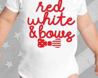 Red, White & Bows Baby Onesie