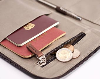 Leather Passport Wallet, perfect for traveling with your essentials. Keeps you organized, has a secret money pocket, cards and coins pocket.