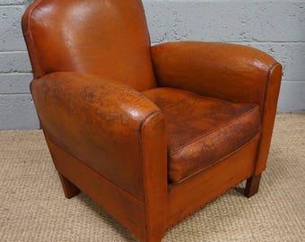 Vintage Brown Leather Club Arm Chair