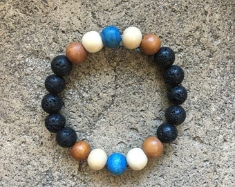 Children's Lava Rock and Wood Bead Mala Bracelet, Childrens Yoga Bracelet, Yoga Bracelet, Kids Mala, Children's Jewelry, Bohemian, Boho
