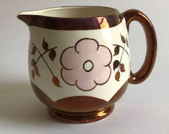 A Copper Lustre Jug with Pink Blossoms English Ware Lancaster Hanley