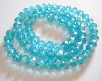 9 x 8 mm x 36 faceted abacus glass beads