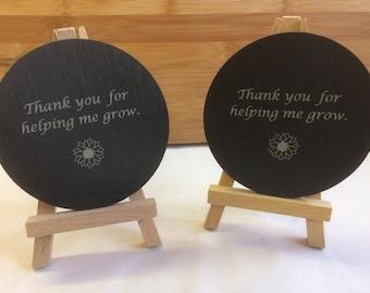 Teachers Gift Slate Coaster, Thank you for helping me grow, Thank you Teachers Gift, Teachers assistant Gift, Slate, Coaster.