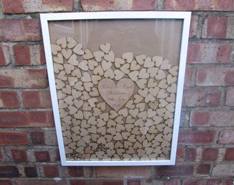 Personalised Drop top alternative wedding Guest Book Holds various heart tokens, large personalised heart colours black,white,wood effect