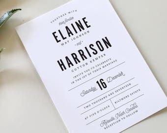 Buffalo Check Wedding Invitation   Flannel Invitation, Modern Wedding Invitation, Rustic Wedding Invite, Plaid Wedding Invitation