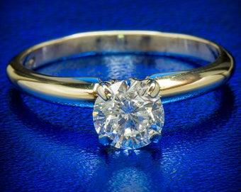 Diamond Ring 0.78 Ct Natural Round Diamond Engagement Promise Wedding Ring 14k Yellow Gold