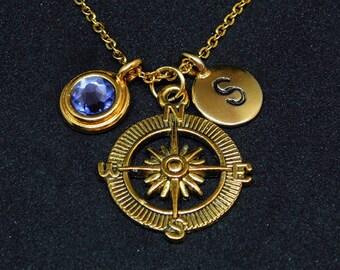 Golden Compass necklace, swarovski birthstone, initial necklace, birthstone necklace