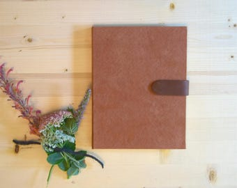 Journal Sketchbook Rust Suede with Brown Leather Magnetic Strap