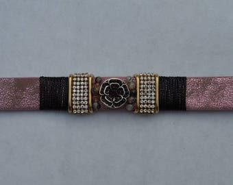 Pearl Pink suede strap