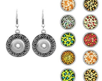 1 pair of earrings with leopard interchangeable snap buttons