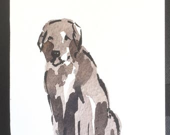 Dog, Brown, Original Watercolour 'Big Brown Dog' Home Decor, Gift Idea, Free Shipping