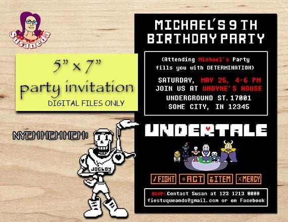 Undertale personalized invitation 5x7 undertale like this item stopboris Choice Image