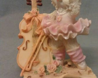 Beige Cat Colorfully Dressed Playing Guitar Cat Figurine
