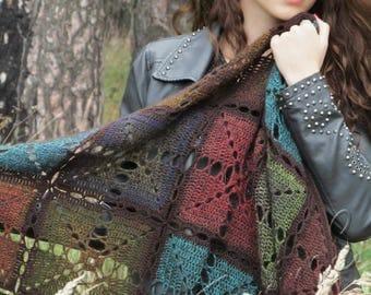 """Crochet shawl - handmade shawl - wool rainbow shawl - triangular big shawl - boho crochet shawl - gypsy shawl - lace shawl """"Autumn Moment"""""""