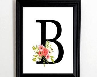 Personalized Monogram Wall Art Print, Family Initial Wall Art, Wall Art  Print, Letter Part 79