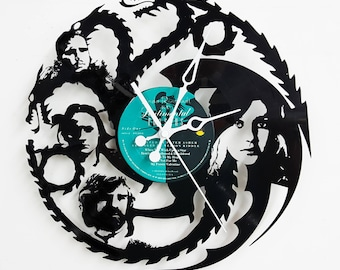 Dragons Vinyl Revord Clock, Wall Clock, Vinyl Record Clock, clock, custom clock from vinyl records