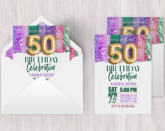 Fiftieth Invitation | Fiftieth Birthday, 50th Birthday Poster, 50th Birthday Card, 50th Birthday Ideas, 50th Invitation, Metallic Invitation