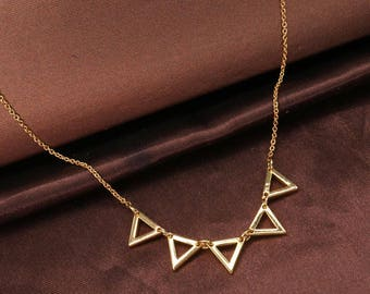 Triangle Necklace, Statement Necklace, Inverted Triangle Necklace, Gold Necklace, Simple Necklace, Everyday Necklace BN722-G1