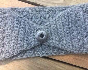 Crochet ear warmer, headband, womens grey hair accessory, headwrap