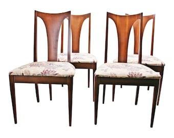 4 Vintage Broyhill Brasilia CHAIR SET Danish Modern wood upholstered mid century dining single back spindle lot 60s eames mcm cloth beige