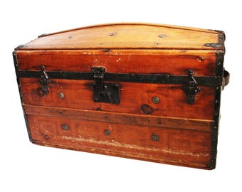 Vintage CAMELBACK TRUNK storage chest steamer train luggage antique toy box wood tin dome top camel hump rustic primitive wooden humpback 24