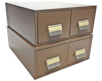 Vintage Industrial 2 Drawer Cabinet Pair ~ beige set file chest filing steel card catalog storage organizer man cave military steelmaster