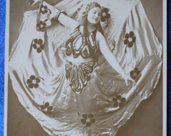 Antique PHPC, B & W of Belly Picture of Dancer with Fantastic Skirt Framing Her