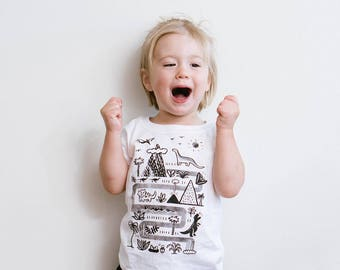 Unisex Dinosaur Tee, Toddler Tee, White Toddler TShirt