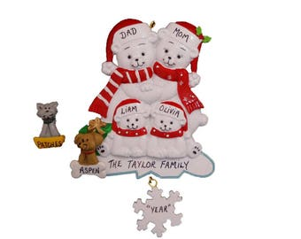 Personalized Polar Bear Family of 4 with Optional Dog or Cat Added - Personalized Christmas Ornament Family of 4 Polar Bears with Family Pet