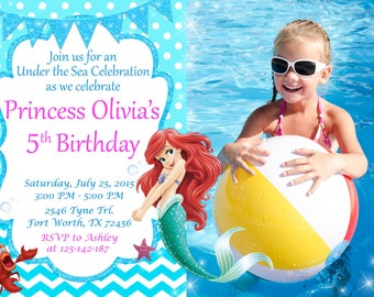 Little Mermaid Invitation, Little Mermaid Birthday, Ariel Invitation, Ariel Birthday