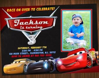 Disney Cars 3 Invitation, Cars 3 Birthday, Cars 3 Invitation,  Disney Cars 3 Party, Cars Invitation