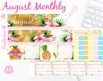 August Monthly Kit | Planner Stickers