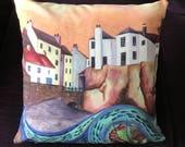 Sunset over Robin Hoods Bay - Art Cushion