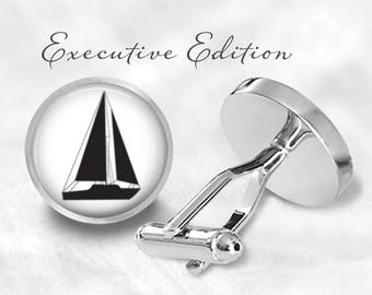 Sailboat Cufflinks - Boating Cuff Links - Nautical Cufflink - Boat Cufflinks (Pair) Lifetime Guarantee (S0951)